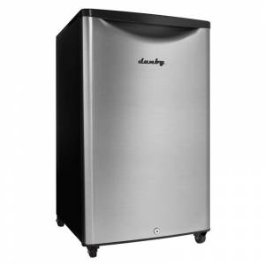 Danby DAR044A6O 21 Inch Wide 4.4 Cu. Ft. Energy Star Free Standing Compact Outdoor Refrigerator with LED Interior Lighting and CanStor Black / Steel  - Black,Steel
