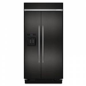 KitchenAid KBSD608E 48 Inch Wide 29.5 Cu. Ft. Energy Star Rated Built-In Side-by-Side Refrigerator with ExtendFresh and PrintShield™ Finish Black  - Black Stainless