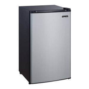 Magic Chef MCBR350 19 Inch Wide 3.5 Cu. Ft. Compact Refrigerator with Freezer Faux Stainless Steel Refrigeration Appliances Compact Refrigerators