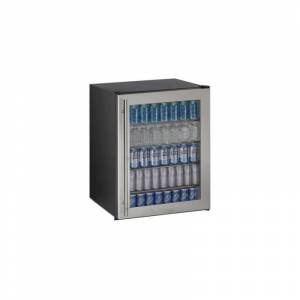 U-Line U-ADA24RGL13B 24 Inch Wide 5.4 Cu. Ft. Capacity Right Handed Solid Door Beverage Center with Lock from the ADA Series Stainless Steel Beverage  - Stainless Steel