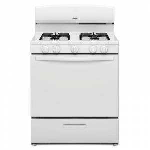 Amana AGR4230BA 30 Inch Wide 5.1 Cu. Ft. Free Standing Gas Range with SpillSaver Upswept Cooktop White Ranges Free Standing Gas