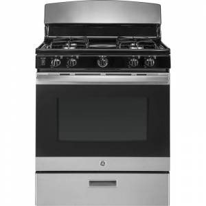 GE JGBS30E 30 Inch Wide 4.8 Cu. Ft. Free Standing Gas Range with 13000 BTU Burner Stainless Steel Ranges Free Standing Gas  - Stainless Steel