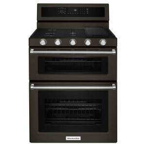 KitchenAid KFGD500E 30 Inch Wide 6.0 Cu. Ft. Gas Freestanding Range with Double Ovens and Even-Heat Convection Black Stainless Ranges Free Standing  - Black Stainless