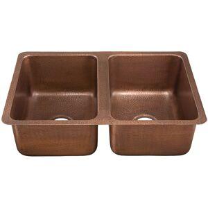 "Thompson Traders KDU-3120AH Montersosso 31"" Double Basin Drop In or Undermount Copper Kitchen Sink Medium Antique Fixture Kitchen Sink Copper"