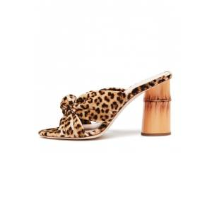 Hampden Coco High Heel Knot Slide in Leopard