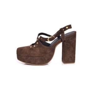 Hampden Ballast Heel in Studded Dark Brown