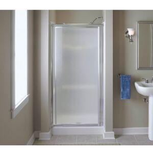 Vista Pivot 65.5 in. H x 36 in. W Silver Natural Framed Shower Door