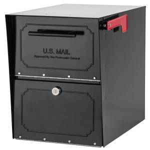Architectural Mailboxes Oasis Classic Galvanized Steel Post Mount Black Mailbox