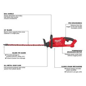 Milwaukee 24 in. 18 volt Battery Hedge Trimmer Tool Only