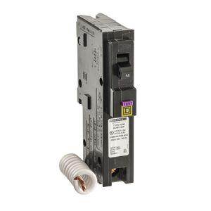 Square D HomeLine 15 amps Arc Fault/Ground Fault Single Pole Circuit Breaker