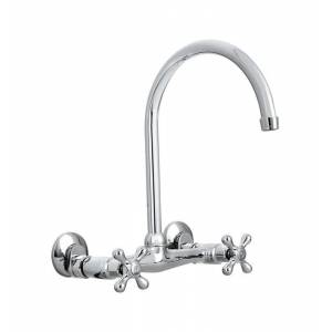 Homewerks Two Handle Chrome Wall Mount Kitchen Faucet