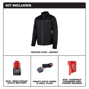 Milwaukee M12 AXIS L Long Sleeve Unisex Full-Zip Heated Jacket Kit Black