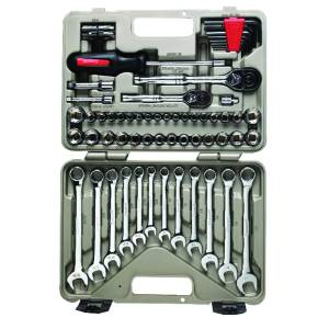 Crescent 3/8 in. drive Metric and SAE 6 and 12 Point Mechanic's Tool Set 70 pc.