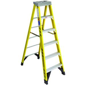 Werner 6 ft. H x 25 in. W Fiberglass Step Ladder Type IAA 375 lb. capacity