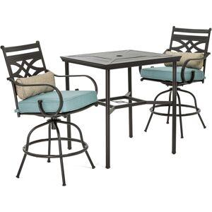 Hanover Montclair 3 pc. Java Steel Dining Set Ocean Blue Cushions