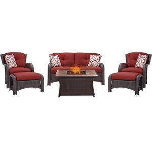 Hanover Strathmere 6 pc. Espresso Steel Firepit Seating Set Red