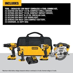 DeWalt 20V MAX 20 volt Cordless Brushed 4 tool Combo Kit