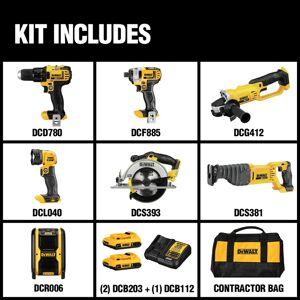 DeWalt 20V MAX 20 volt Cordless Brushed 7 tool Combo Kit