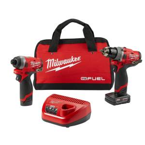 Milwaukee M12 FUEL 12 volt Cordless Brushless 2 tool Hammer Drill and Impact Driver Kit
