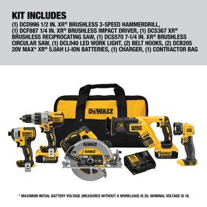 DeWalt 20V MAX XR 20 volt Cordless Brushless 5 tool Combo Kit