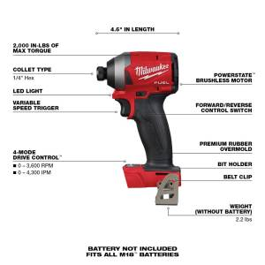 Milwaukee M18 FUEL 18 volt 1/4 in. Cordless Brushless Impact Driver Tool Only