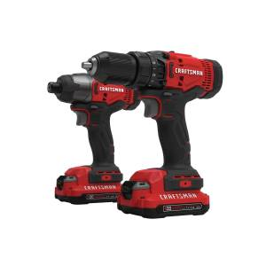 Craftsman 20V MAX 20 volt Cordless Brushed 2 tool Drill/Driver and Impact Driver Combo Kit
