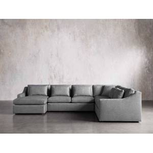 Arhaus Ashby Upholstered Four Pc L Arm Chaise Sectional in Tolliver Stone