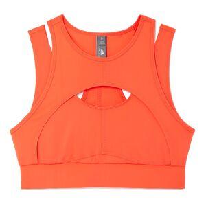 Adidas by Stella McCartney Triathlon Crop Sports Bra Top in Hot Coral, Medium