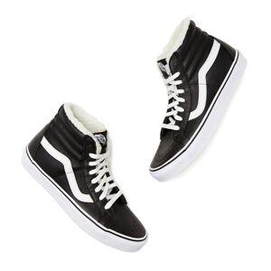 Vans Sk8-Hi High-Top Fleece Sneakers in Black/True White, Size 7.5  - Black/True White - Size: 7.5