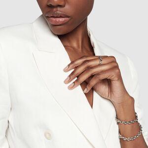 Hoorsenbuhs Dame Tri-Link Ring with Diamond Bridges in Sterling Silver/White Diamonds, Size 8  - Sterling Silver/White Diamonds - Size: 8