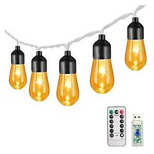 3M 20LEDs 13Keys Remote Controller  Retro Bulb Acrylic Bulb Light String Garden Light Christmas Party Decoration Light Wedding Fairytale World  Dimming Timing