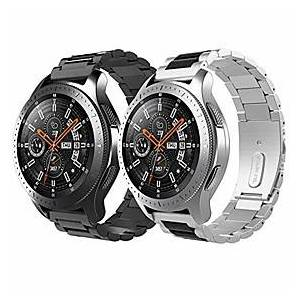 replacement band compatible with galaxy 46mm/gear s3 classic/gear s3 frontier, [2 pack] stainless steel 22mm watch strap 2 tone watch bracelet - silver amp; bl