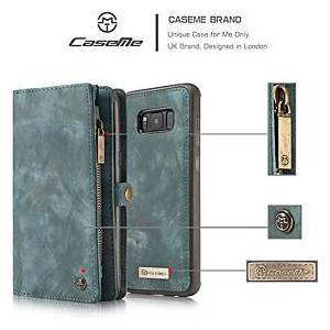 Samsung CaseMe Wallet Case for Samsung Galaxy S21 S20 S10 Retro Handmade Leather 2 in 1 Detachable Flip Zipper Case with Card Slots and Magnetic Back Cover for Samsung