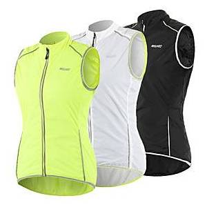 Arsuxeo Women's Cycling Vest Polyester Green White Black Bike Vest / Gilet Windproof UV Resistant Quick Dry Reflective Strips Back Pocket Sports Solid Color Mo