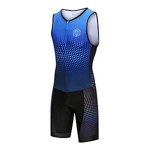 Nuckily Men's Sleeveless Triathlon Tri Suit Blue Gradient Bike Windproof Breathable Quick Dry Sports Spandex Geometric Mountain Bike MTB Road Bike Cycling Clot