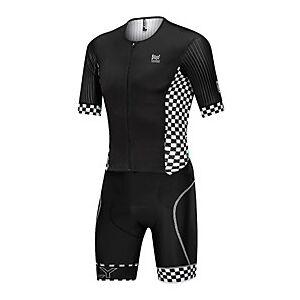 Nuckily Men's Short Sleeve Triathlon Tri Suit Black Plaid / Checkered Stripes Bike Clothing Suit Breathable Quick Dry Sweat-wicking Sports Spandex Plaid / Chec