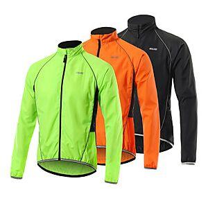Arsuxeo Men's Cycling Jacket Bike Jacket Windbreaker Softshell Jacket Waterproof Windproof Breathable Sports Black / Orange / Green Mountain Bike MTB Road Bike