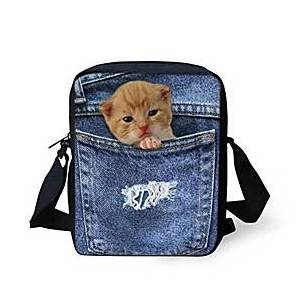 denim kitten print crossbody shoulder bag for teens girls cell phone holder satchel