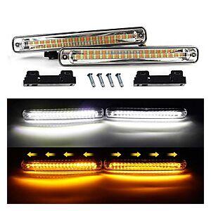 2pcs car DRL led Flowing Waterproof Strip Light DRL Daytime Running Light Turn Signal fog light White turn Amber Headlight 12v