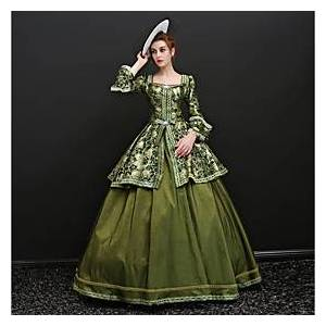 Maria Antonietta Rococo Lace Up Victorian 18th Century Vacation Dress Dress Party Costume Masquerade Ball Gown Women's Satin Costume Green Vintage Cosplay Part
