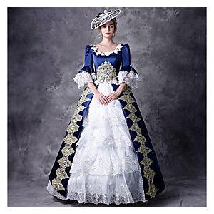 Victorian Duchess Maria Antonietta Rococo Baroque Victorian 18th Century Square Neck Dress Outfits Party Costume Masquerade Women's Lace Costume Red / Blue Vin