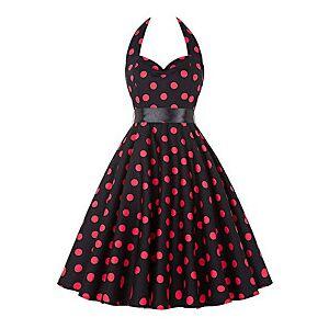 Audrey Hepburn Polka Dots Dresses Retro Vintage 1950s Roaring 20s Dress Rockabilly Prom Dress Women's Costume Red Vintage Cosplay Sleeveless Knee Length