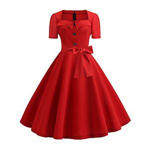 Audrey Hepburn Polka Dots Dresses Retro Vintage 1950s Vacation Dress Dress Party Costume A-Line Dress Tea Dress Women's Costume Red / White / Black / Red Vinta