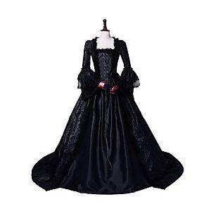 Princess Maria Antonietta Floral Style Rococo Victorian Renaissance Vacation Dress Dress Party Costume Masquerade Prom Dress Women's Costume Black Vintage Cosp