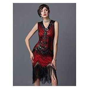 The Great Gatsby Charleston Roaring 20s 1920s Roaring Twenties Vacation Dress Flapper Dress Party Costume Masquerade Cocktail Dress Women's Sequins Tassel Frin