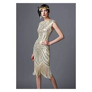 The Great Gatsby Charleston Roaring 20s 1920s Vacation Dress Dress Women's Sequins Costume Black / Red / GoldenBlack / White Vintage Cosplay Party Homecoming P