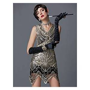 The Great Gatsby Charleston Roaring 20s 1920s Vintage Vacation Dress Flapper Dress Cocktail Dress Women's Sequin Costume Golden Vintage Cosplay Party Homecomin
