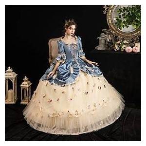 Maria Antonietta Rococo Baroque Victorian Vacation Dress Dress Party Costume Masquerade Prom Dress Women's Tulle Satin Costume LightBlue Vintage Cosplay Party