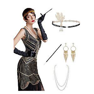 The Great Gatsby Charleston 1920s The Great Gatsby Roaring 20s Costume Accessory Sets Gloves Flapper Headband Women's Tassel Costume Head Jewelry Earrings Pear
