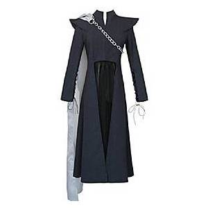 women's black long sleeve dress cosplay party costume chain cape (l)